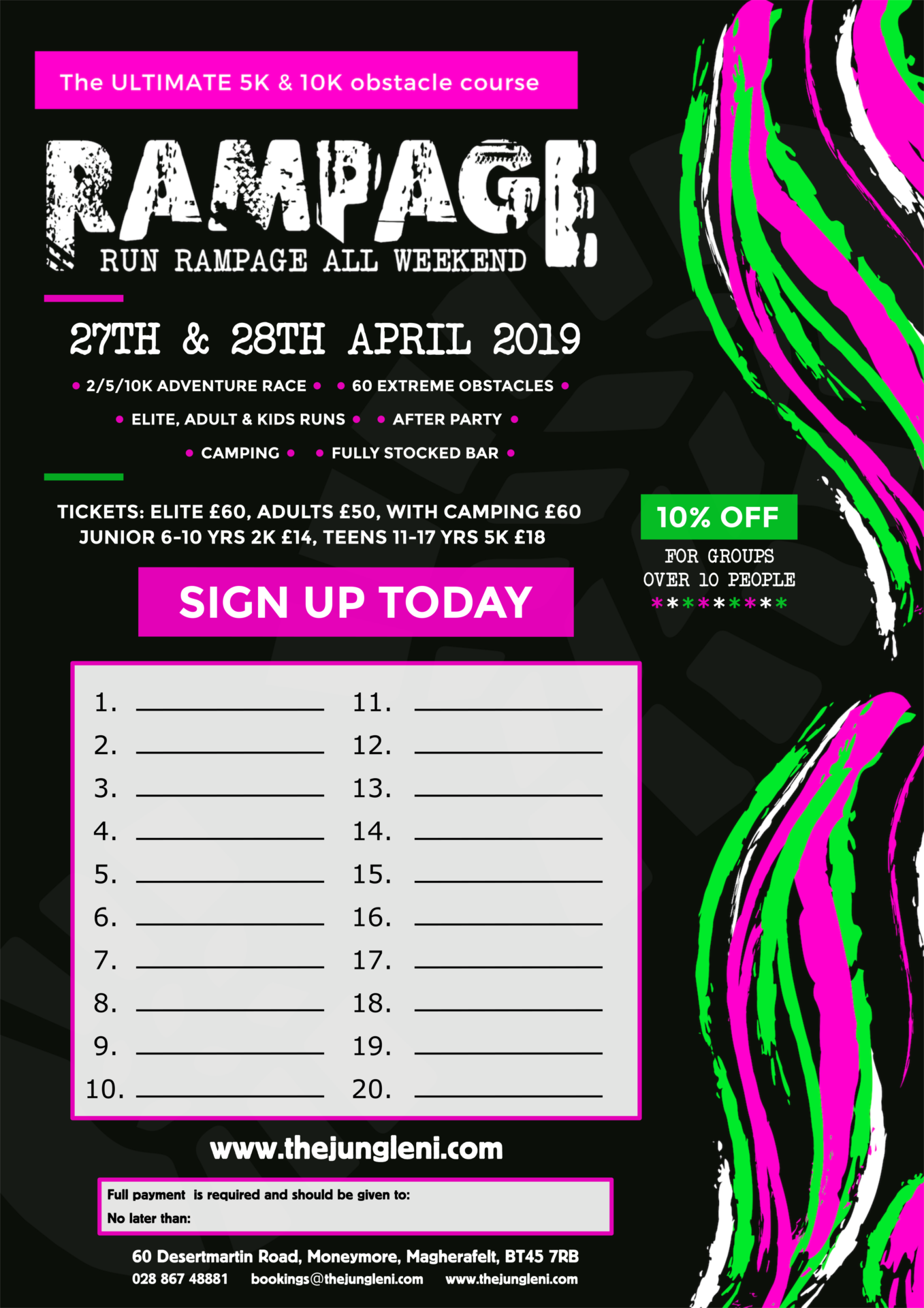 Rampage 2019   Group sign up poster