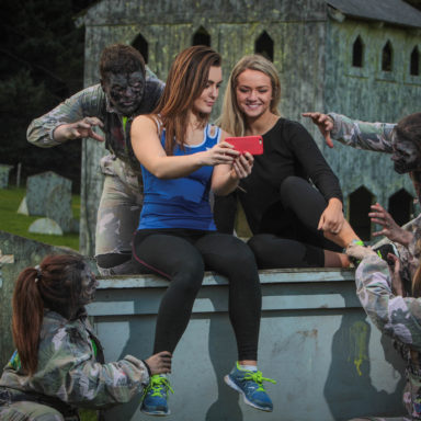 Page McLaughlin and Chloe McLaurin pucker up for a 'zelfie' as The Jungle Outdoor Adventure Centre opens registration for the annual 5k Zombie Run in aid of Autism NI. The run will take place on Sunday 11th October. More information about the run and how to register can be found on thejungleni.com