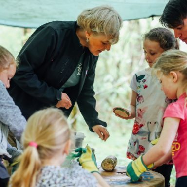 Forest School   Helen with kids