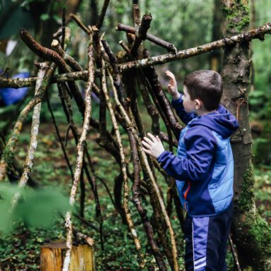 Forest School   boy building den