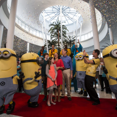 Universal's Cabana Bay Beach Resort celebrated its very first guests to check-in today, March 31. The Hicks family of St. Petersburg, Fla. received a grand welcome and VIP experiences including a complimentary hotel stay, a special  tour of the property with Adnan Bizri, managing director of Universal's Cabana Bay Beach Resort, and Russ Dagon, vice president and executive project director at Universal Creative, a VIP Tour of Universal Orlando's two theme parks – Universal Studios Florida and Universal's Islands of Adventure and more. Now open, the retro-inspired hotel features incredible amenities for endless family fun including a 10,000 sq. ft. zero-entry pool with iconic dive tower waterslide, 10-lane bowling alley, family suites that sleep up to six and much more.This summer, guests will be able to enjoy even more family fun, including a second 8,000-square-foot zero entry pool, Universal Orlando's first lazy river at an on-site hotel, The Hideaway Bar & Grill, and additional moderately-priced family suites and value-priced standard guest rooms.  Photo Universal Orlando  Visit www.UniversalOrlando.com for more information.© Universal Orlando Resort, 2014.