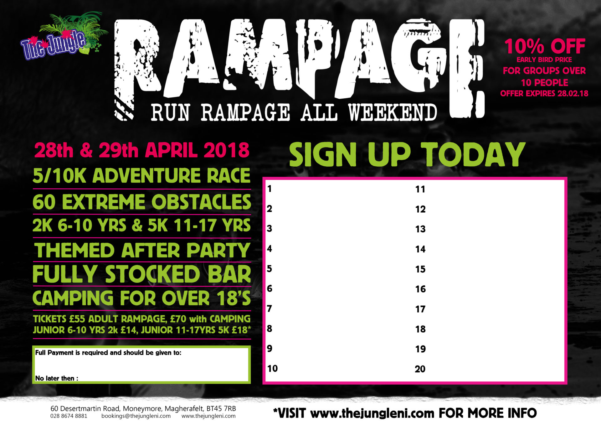 Rampage Group Sign Up Poster 2018 Landscape
