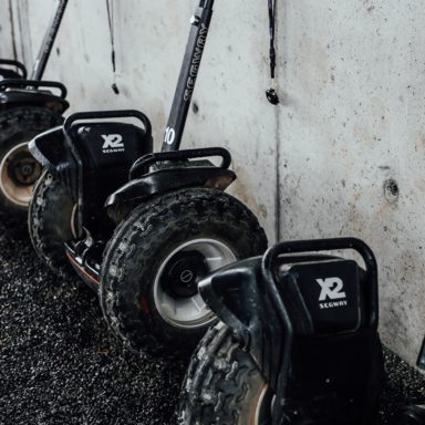 Segways   lined up in a row close up