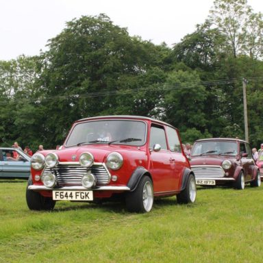 Mid Ulster Vintage rally minis lined up