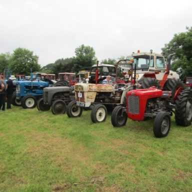 Mid Ulster Vintage rally tractors in a line 2